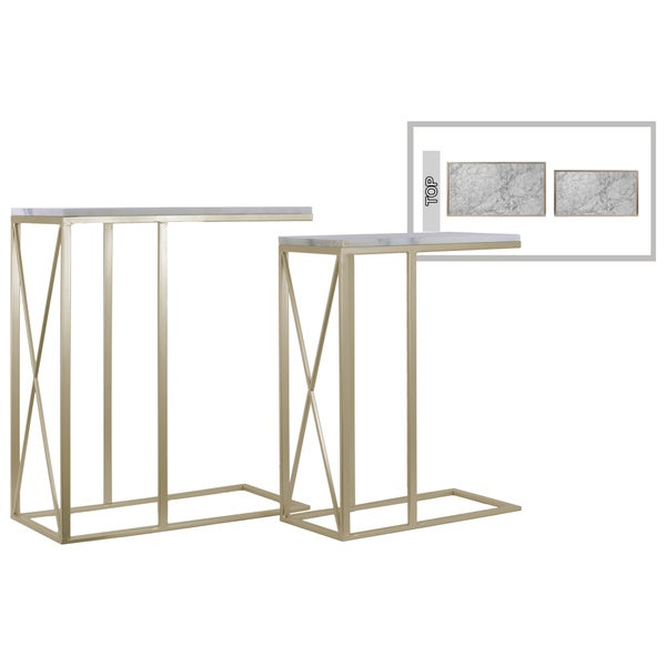 Champagne Marble-Top Metal C-Shaped Nesting Tables (Set of Two)