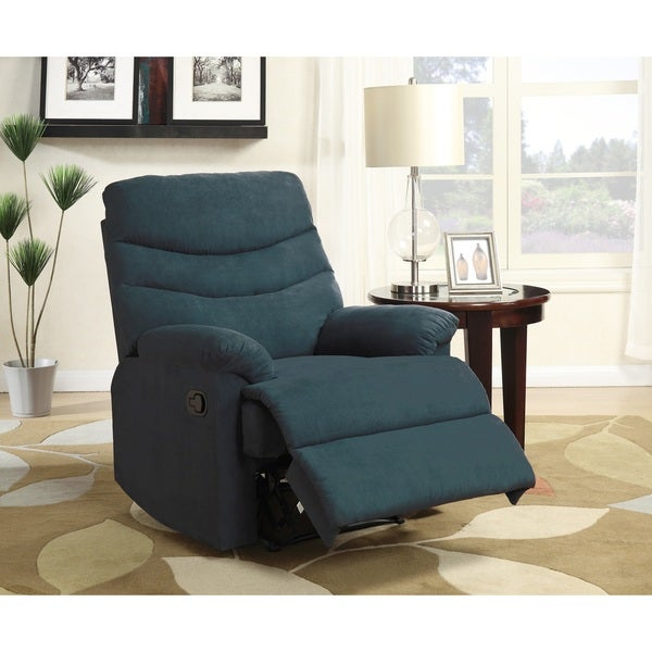 Nathaniel Home Anthony Blue Microfiber Recliner