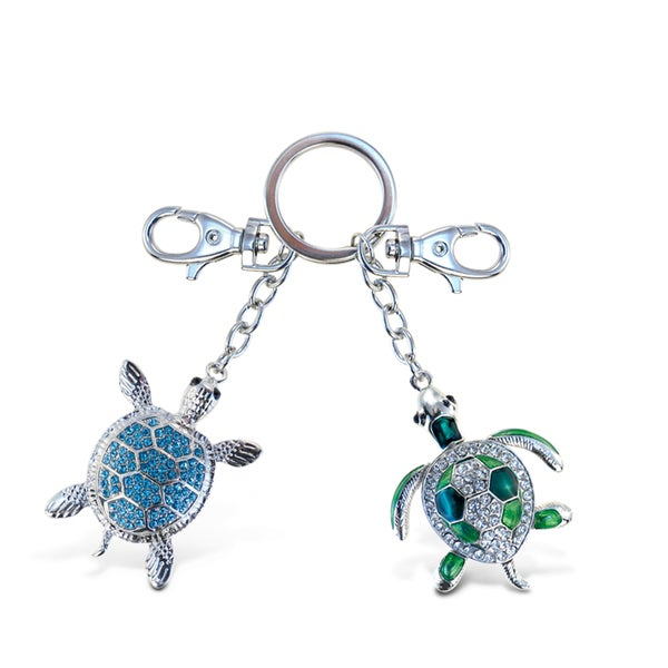 Puzzled Green and Blue Sea Turtle Sparkling Charm Key Chain