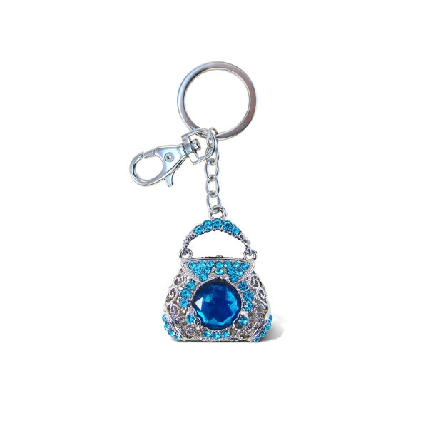 Puzzled Purse Blue Sparkling Charm