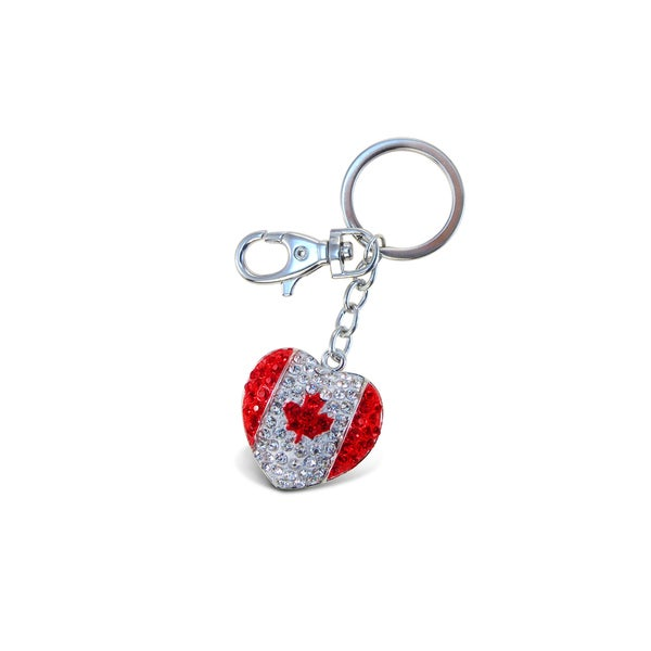 Puzzled Canadian Heart Sparkling Charm
