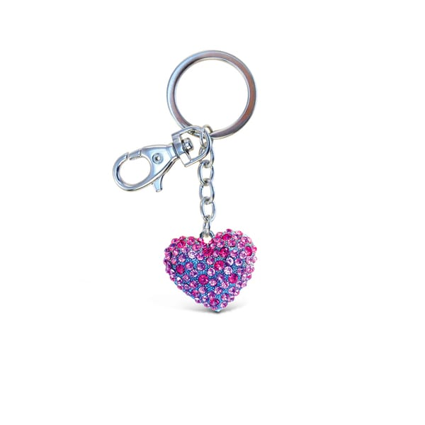 Puzzled Pink Heart Sparkling Charm