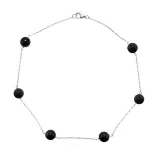 """DaVonna Sterling Silver 12mm Round Black Agate Gemstone Tin Cup Chains Necklace 18"""""""