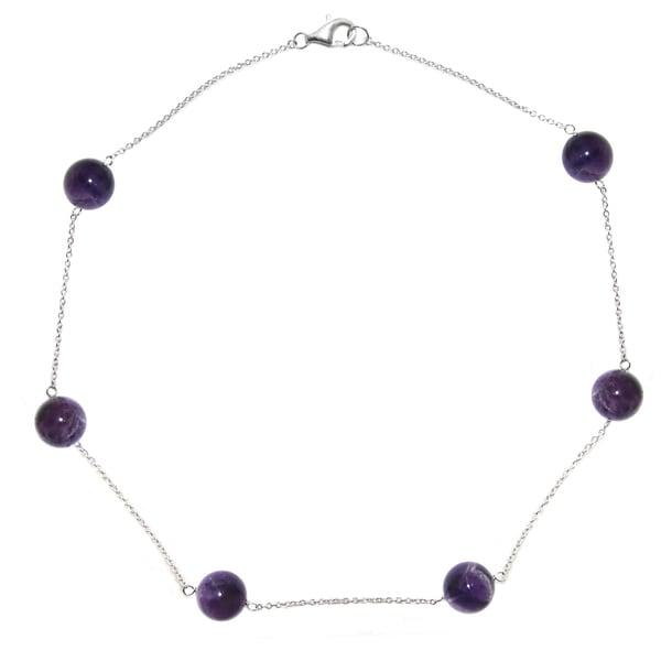 "DaVonna Sterling Silver 12mm Round Purple Amethyst Gemstone Tin Cup Chains Necklace 18"""