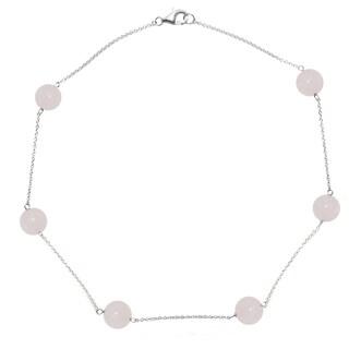"DaVonna Sterling Silver 12mm Round Rose Quartz Gemstone Tin Cup Chains Necklace 18"""