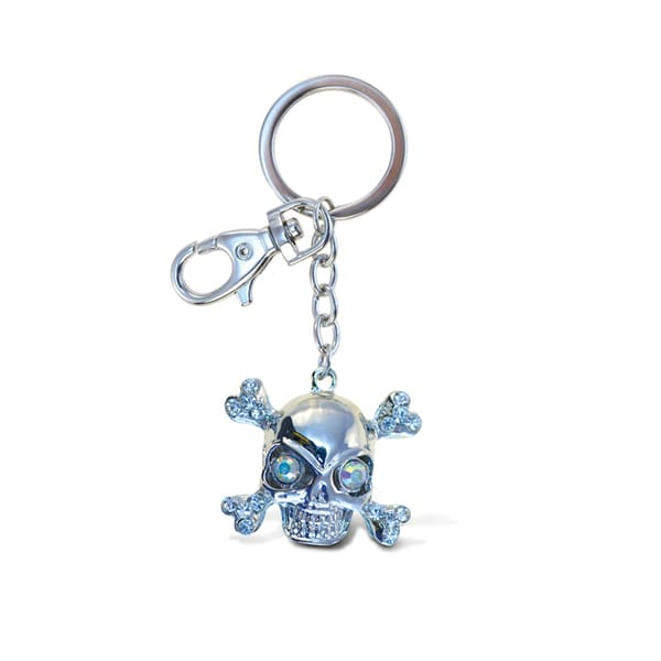 Puzzled Metal Sparkling Pirate Skull Charm Keychain