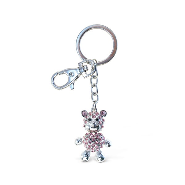 Puzzled Sparkling Pink Bear Charm
