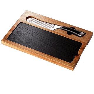 GrooveTech 3-Piece Cheese Board Set (5-Inch Cheese/Santoku Knife, Acacia Wood Cutting Board, Slate Serving Board)