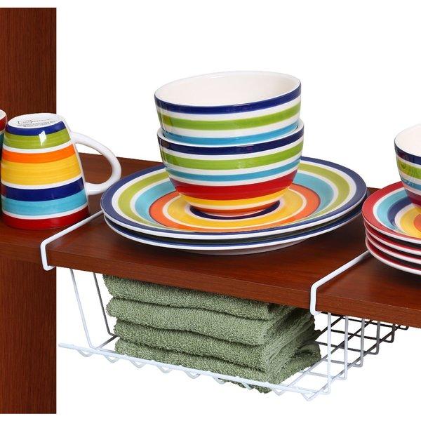 Ybm Home White Under-Shelf Storage Organizer Basket Kitchen Pantry Wrap Rack