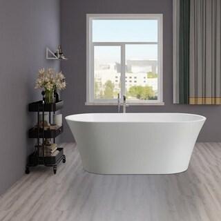 Vanity Art White Acrylic 63-inch Freestanding Soaking Bathtub