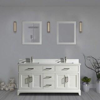Vanity Art 72-inch Double Sink Bathroom Vanity Set with Phoenix Stone Top