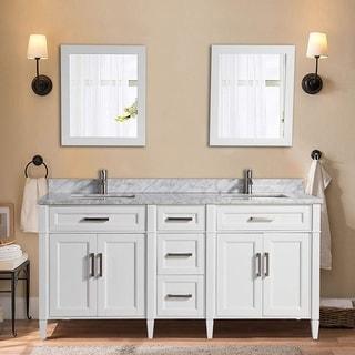 Vanity Art 72-inch Double Sink Bathroom Vanity Set with Carrara Marble Top
