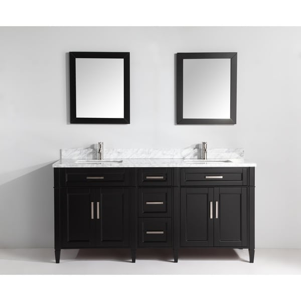 Vanity Art  Inch Double Sink Bathroom Vanity Set With Carrara Marble