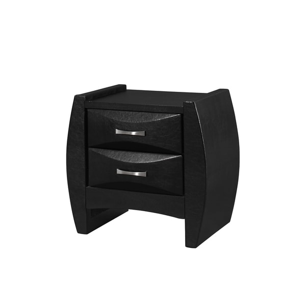 Black Nightstand with Beveled Drawer Fronts