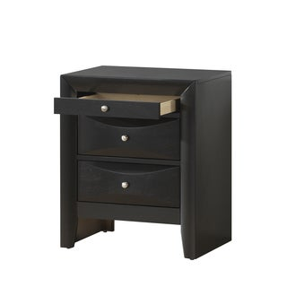 Black 3-Drawer Nightstand