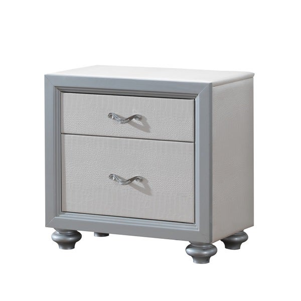 Textured White/ Grey 2-Drawer Nightstand