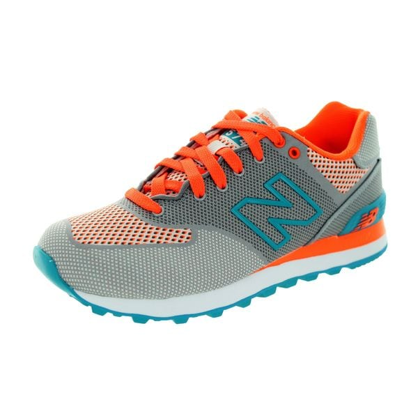 New Balance Womens' M574 Classics Grey/Orange/Blue Atoll Running Shoes