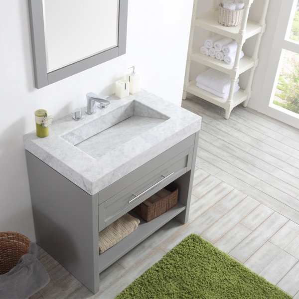 Bolzana Six Inch Single Vanity In Grey With Carrara White Marble Top And Mirror Free Shipping