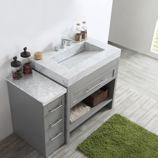 Bolzana Grey Finish Woodwhite Carrara Marble Top Eight Inch Single Vanity Without Mirror Free