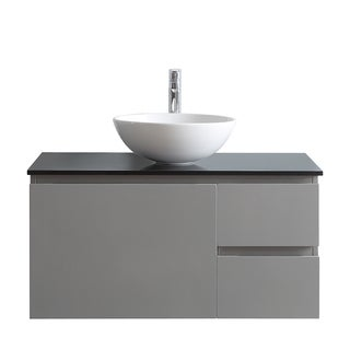 Ferrara Grey 36-inch Single Vanity With White Vessel Sink and Glass Countertop