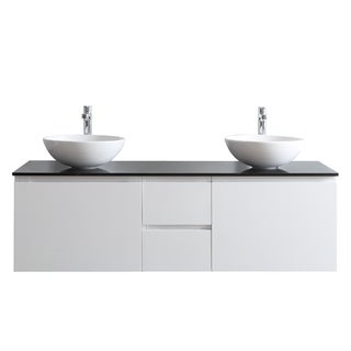 Ferrara 60-inch White Double-sink Vanity with Glass Countertop