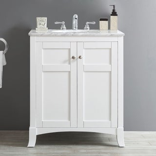 Arezzo White Carrara White Marble Top 30-inch Single Vanity