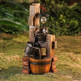 Jeco Barrel Water Fountain with Solar Light