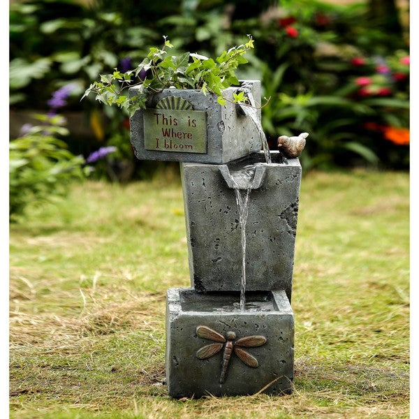 Jeco Cement-finish Resin 3-tier Outdoor Fountain and Planter