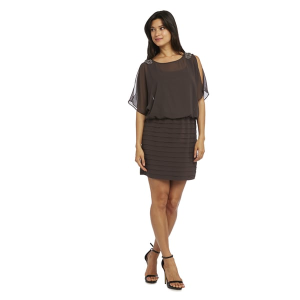 R&M Richards Women's Mocha Brown Shutter Dress