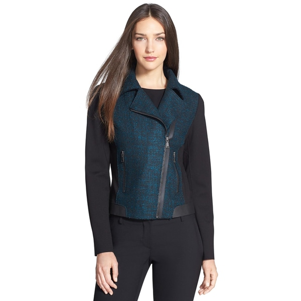 Elie Tahari Blue Mixed Media Blazer