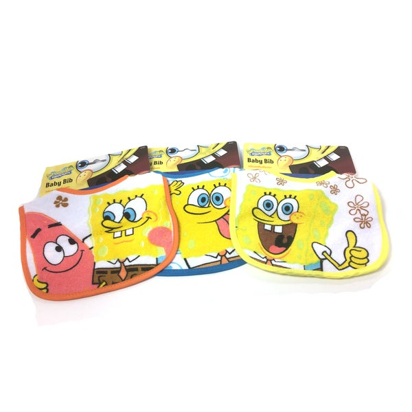 Nickelodeon Cotton and Polyester SpongeBob SquarePants Baby Bibs (Pack of 3)