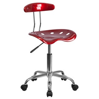 Saddle Wine Red Home Office Chair with Tractor Seat