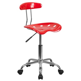 Saddle Red Metal Chrome-finished Home Office Chair with Tractor Seat