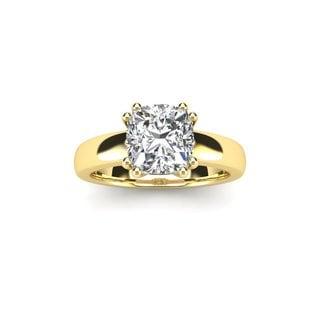 1 Carat Cushion Diamond Solitaire Engagement Ring in 14 Karat Yellow Gold (I-J, I1-I2)