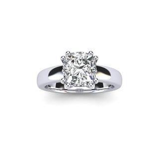 3/4 Carat Cushion Diamond Solitaire Engagement Ring in 14 Karat White Gold (I-J, I1-I2)