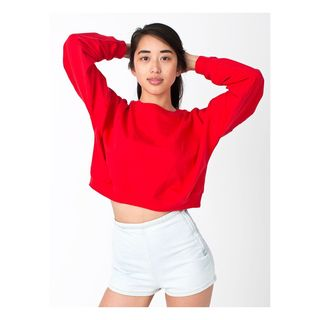 American Apparel Girls' California Red Cotton Fleece One-size-fits-most Cropped Sweatshirt