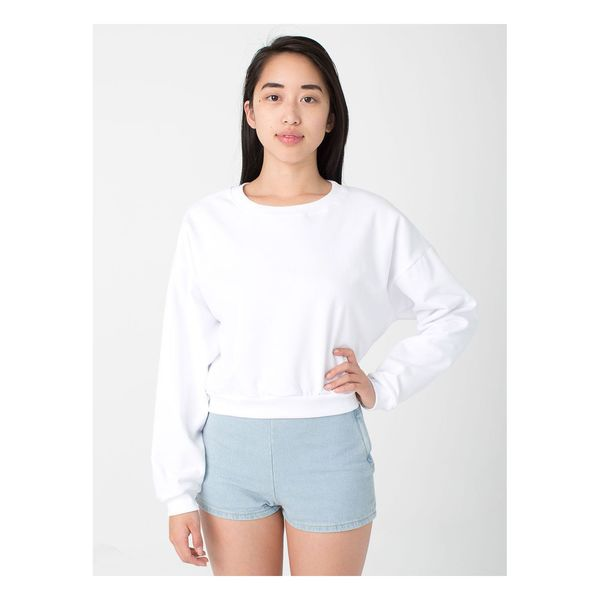 American Apparel California Girl's White Fleece Cropped One-size-fits-most Sweatshirt