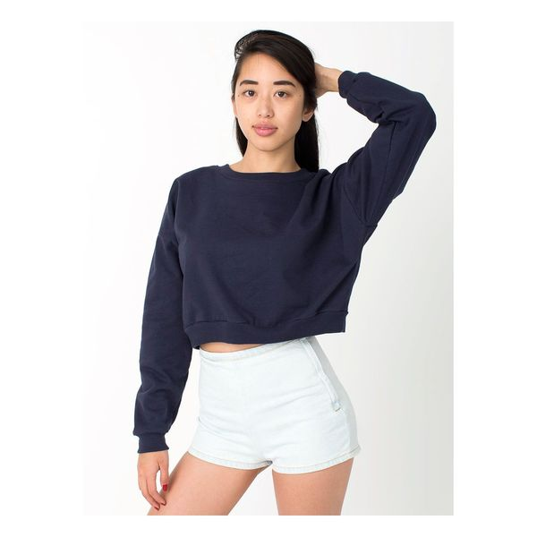 California Girl's Navy Fleece One-size-fits-most Cropped Sweatshirt