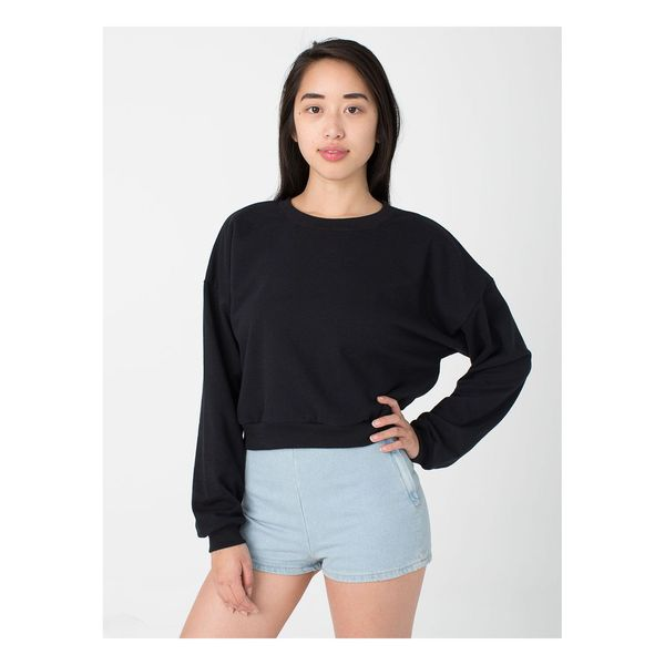 American Apparel Girl's California Black Fleece Cropped Sweatshirt