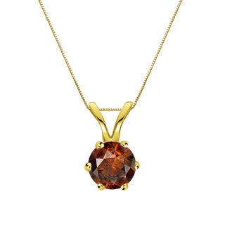 Auriya 14k Gold 1/3ct TDW Round-Cut Brown Diamond 6-Prong Solitaire Necklace (Brown, SI1-SI2)