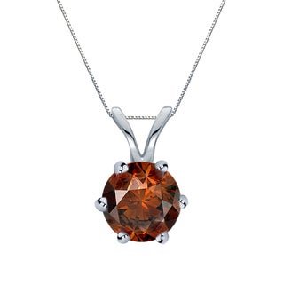 Auriya 14k Gold 1ct TDW Round-Cut Brown Diamond 6-Prong Solitaire Necklace (Brown, SI1-SI2)