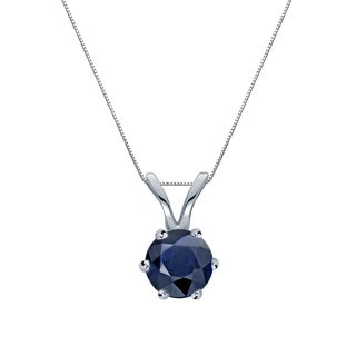 Auriya 14k Gold 1/4ct Round-Cut Blue Sapphire 6-Prong Solitaire Necklace
