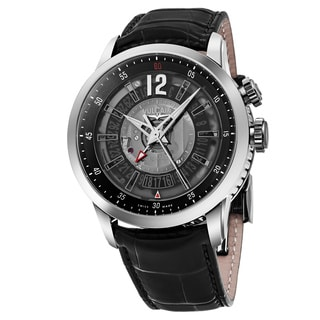 Vulcain Men's 220136.268LF 'Anniversary Heart' Charcoal Dial Black Leather Strap Swiss Automatic Watch