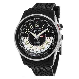 Vulcain Men's 161925.165RF 'Aviator' Black Dial Black Rubber Strap GMT X-Treme Swiss Mechanical Watch