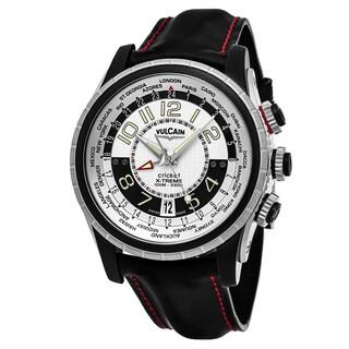 Vulcain Men's 161925.163CF 'Aviator' Silver Dial Black Leather Strap GMT X-Treme Swiss Mechanical Watch