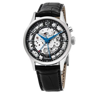 Vulcain Men's 130122.131LF 'Golden Heart' Black Skeleton Black Leather Strap Swiss Automatic Watch