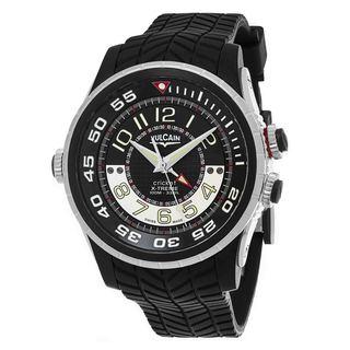 Vulcain Men's 101924.160RF 'Aviator Cricket' Black Dial Black Rubber Strap Swiss Mechanical Watch