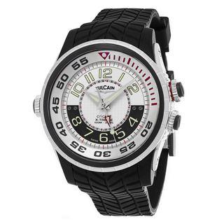 Vulcain Men's 101924.159RF 'Aviator Cricket' Silver Dial Black Rubber Strap Swiss Mechanical Watch