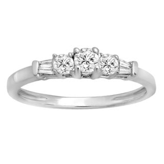 14k Gold 3/8ct TW Round and Baguette-cut Diamond 3-stone Engagement Bridal Ring (H-I, I1-I2)