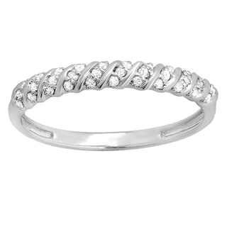 14k White Gold 1/6ct TW Round Diamond Anniversary Wedding Band Stackable Ring (I-J, I2-I3)